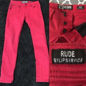 Hot Topic Rude Lip Service Rinsed Red skinny Jeans